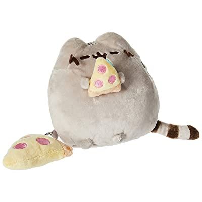 "GUND Pusheen with Pizza & Bonus Clip Plush Stuffed Animal Cat, Grey, 6"": Toys & Games"