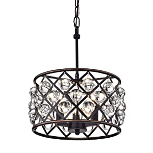 Edvivi Azha 3-Light Oil Rubbed Bronze Drum Pendant Chandelier with Crystal Spheres | ORB | Glam Lighting