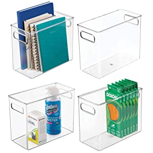 "mDesign Plastic Home, Office Storage Organizer Bin with Handles - Container for Cabinets, Drawers, Desks, Workspace - BPA Free - for Pens, Pencils, Highlighters, Notebooks - 5"" Wide, 4 Pack - Clear"