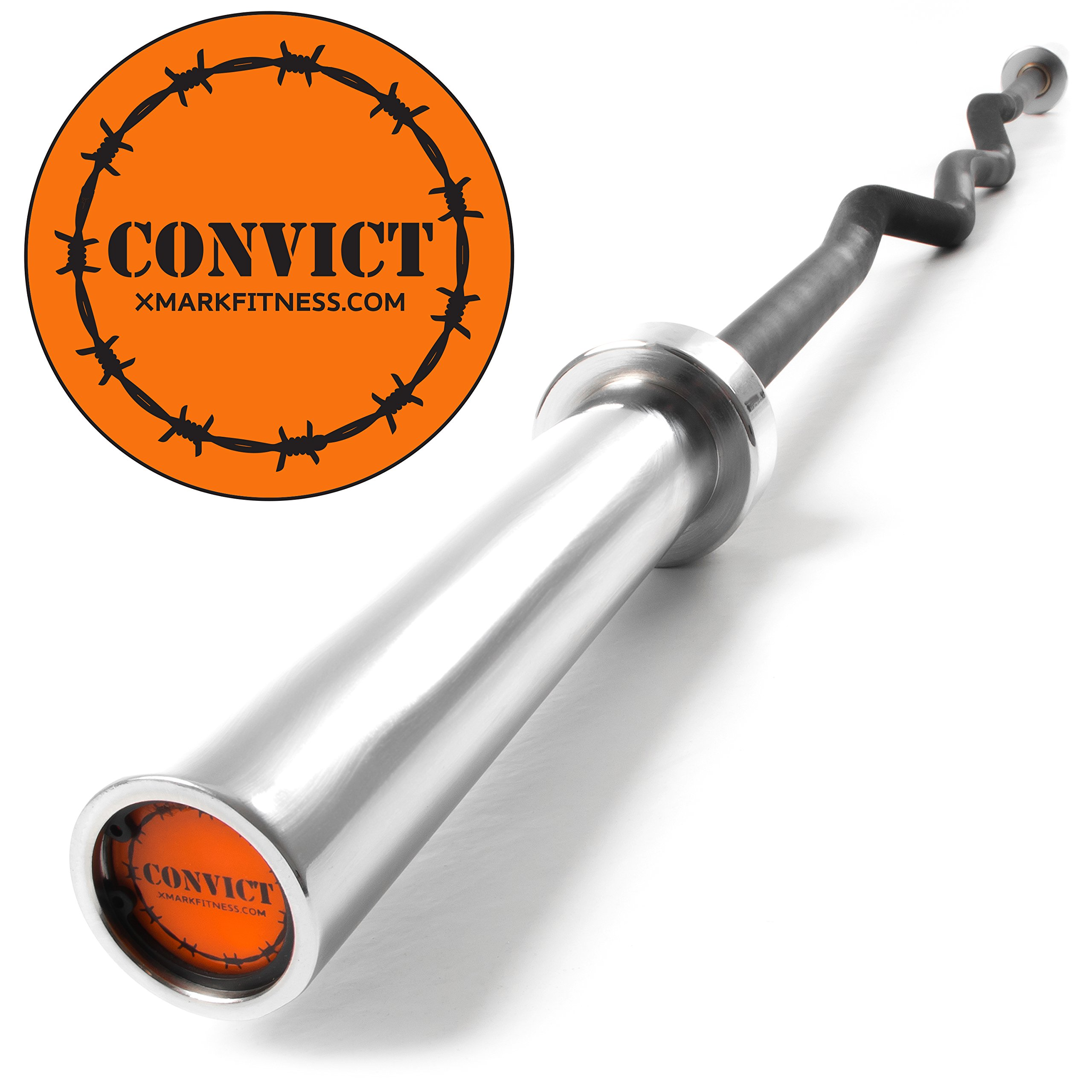 XMark Convict 6' Rackable Olympic Curl Bar with Chrome Sleeves, Brass Bushings, Medium Knurling and 400 lb. Wgt Capacity, Use with Squat Rack, Olympic Bench, Bicep Curl and Triceps Bar Exercises