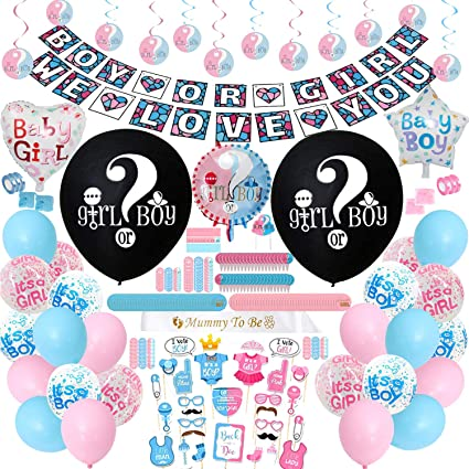 Boy or Girl Gender Reveal Party Supplies Kit with Gender Reveal Confetti Balloon