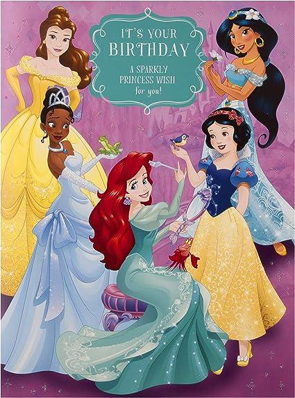 Hallmark Carte D Anniversaire Princesse Disney Pour Enfants Grande Taille Amazon Fr Fournitures De Bureau