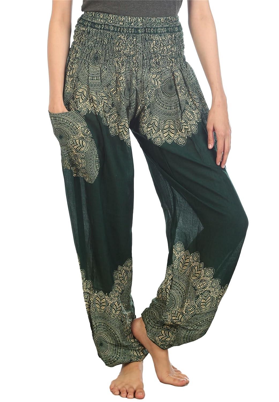 Lofbaz Women's Floral Boho Genie Aladdin Smocked Waist Harem Pants