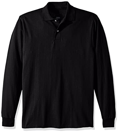 68f7b97a139 Jerzees Men's Spot Shield Long Sleeve Polo Sport Shirt, Black, Small
