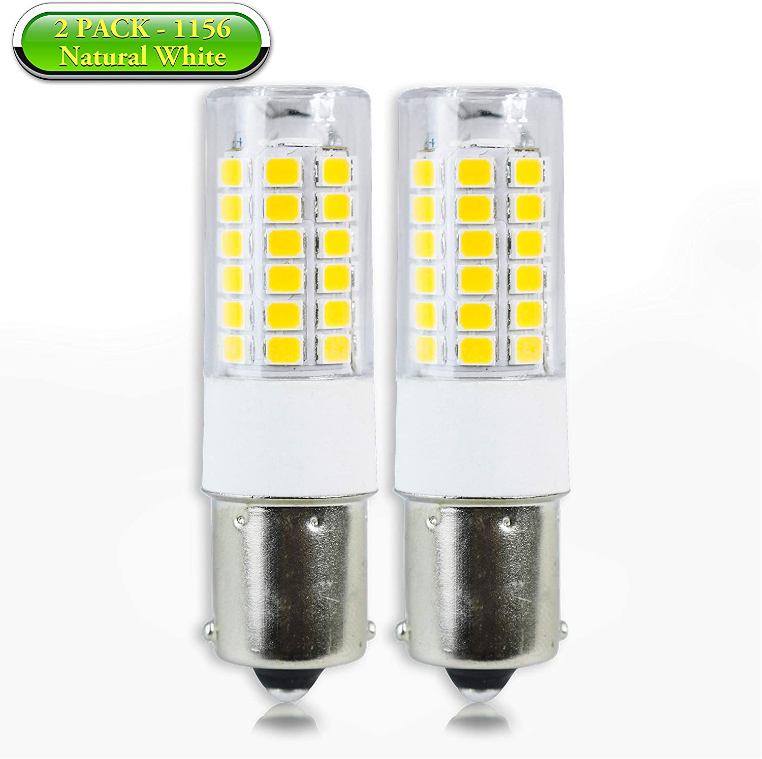 2-Pack 4000K Natural White Leisure LED 4-Pack RV LED Light Bulbs 400LM 1156 1141 1003 1073 BA15S 51 SMD LED Replacement Light Bulbs for RV Indoor Lights 10-30V