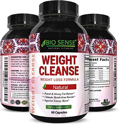 Bio Sense Garcinia Cambogia Extract Fast Acting Weight Loss and Energy Pills for Women and Men Boost Metabolism Green Coffee Bean, Raspberry Ketones Antioxidant Support and Detox Cleanse