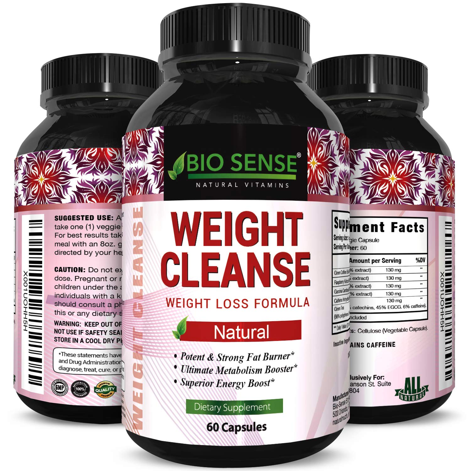 New Pure Garcinia Cambogia Green Coffee Bean and Raspberry Ketones Complex with Green Tea and Keto Fat Burner Diet Pills Weight Loss Formula Highest Grade Pure Blend 60 Capsules by Bio Sense