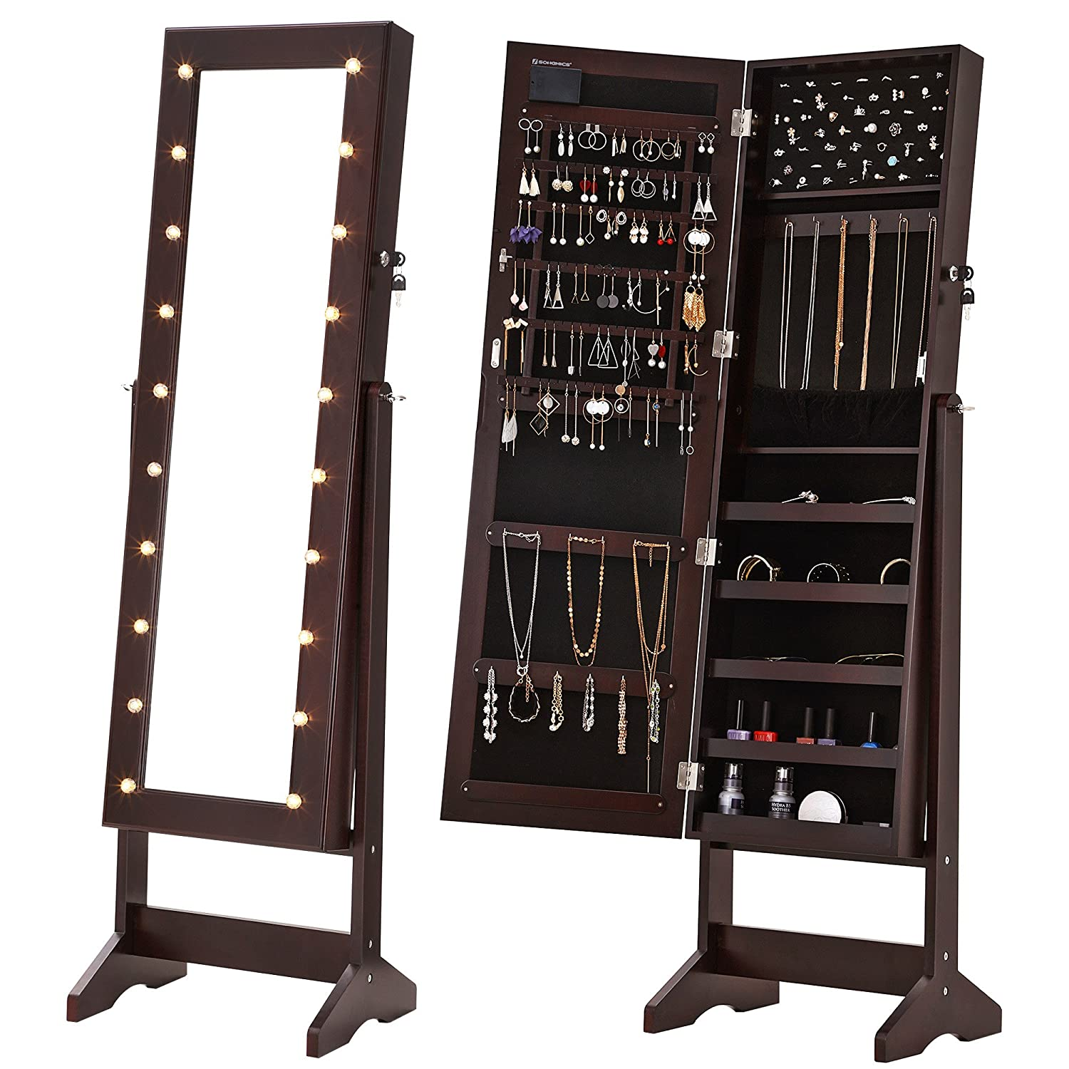 Amazon SONGMICS LED Jewelry Cabinet Armoire with Mirror