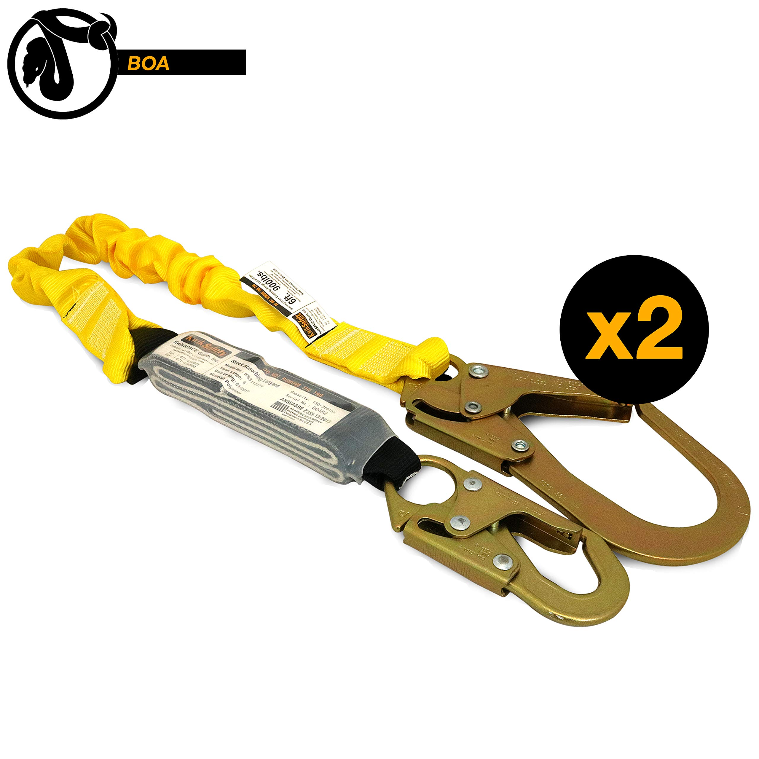 KwikSafety (Charlotte, NC) BOA (2 PACK) Single Leg 6ft Tubular Stretch Safety Lanyard | OSHA ANSI Fall Protection | EXTERNAL Shock Absorber | Construction Arborist Roofing | Snap Rebar Hook Connectors by KwikSafety (Image #1)