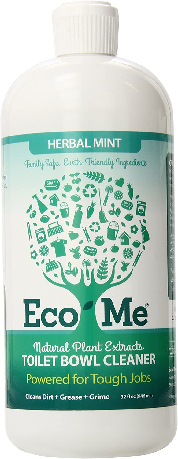 Eco Me Natural Powerful Deep Cleaning Toilet Bowl Cleaner, Healthy Herbal Mint Scent, 32 Ounces