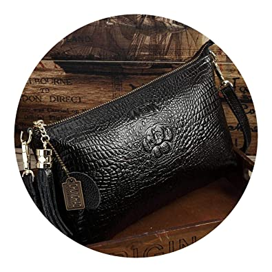 Leather Women Clutch Vintage Crocodile Pattern ning Party Messenger Bags makeup bag,Black