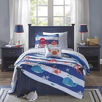 Mi Zone Kids Sealife Twin Kids Bedding Sets for Boys - Blue, Octopus – 6  Pieces Boy Comforter Set – Ultra Soft Microfiber Kid Childrens Bedroom ...