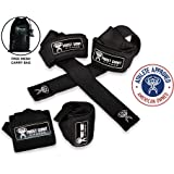 Wrist Wraps + Lifting Straps Combo Set w/Carry...