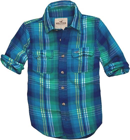 Hollister - Camisa casual - con botones - Cuadrados - Manga corta - para hombre Blau and Türkis Kariert 48: Amazon.es: Ropa y accesorios