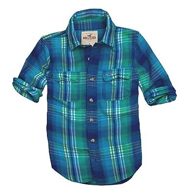 Hollister - Camisa casual - con botones - Cuadrados - Manga corta ...