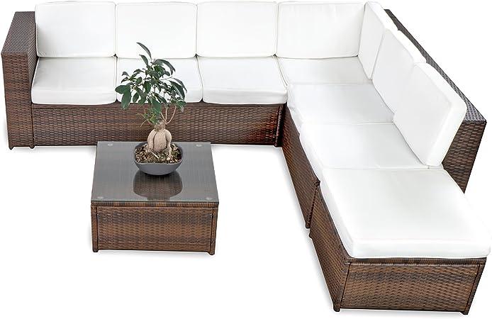 Poly Rattan Gartenmöbel Lounge Sitzgruppe Sitzgarnitur 3er Sofa Tisch Kissen