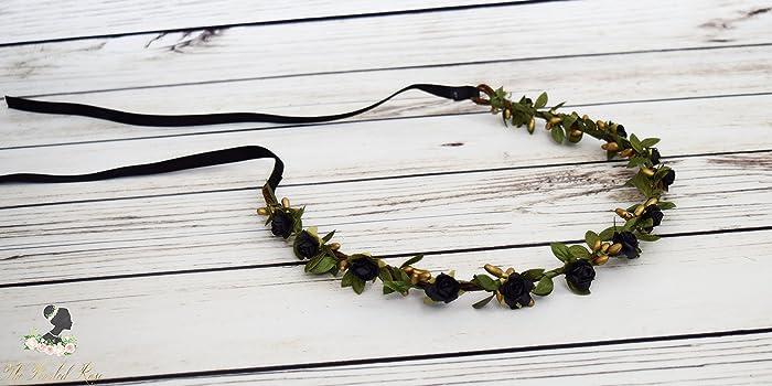 Amazon.com  Black Flower Crown - Romantic Wedding - Green Ivy Flower Crown  - Black Gold Hair Wreath - Black Gold Wedding - Adult Flower Crown -Rose  Halo  ... 33c103fb139