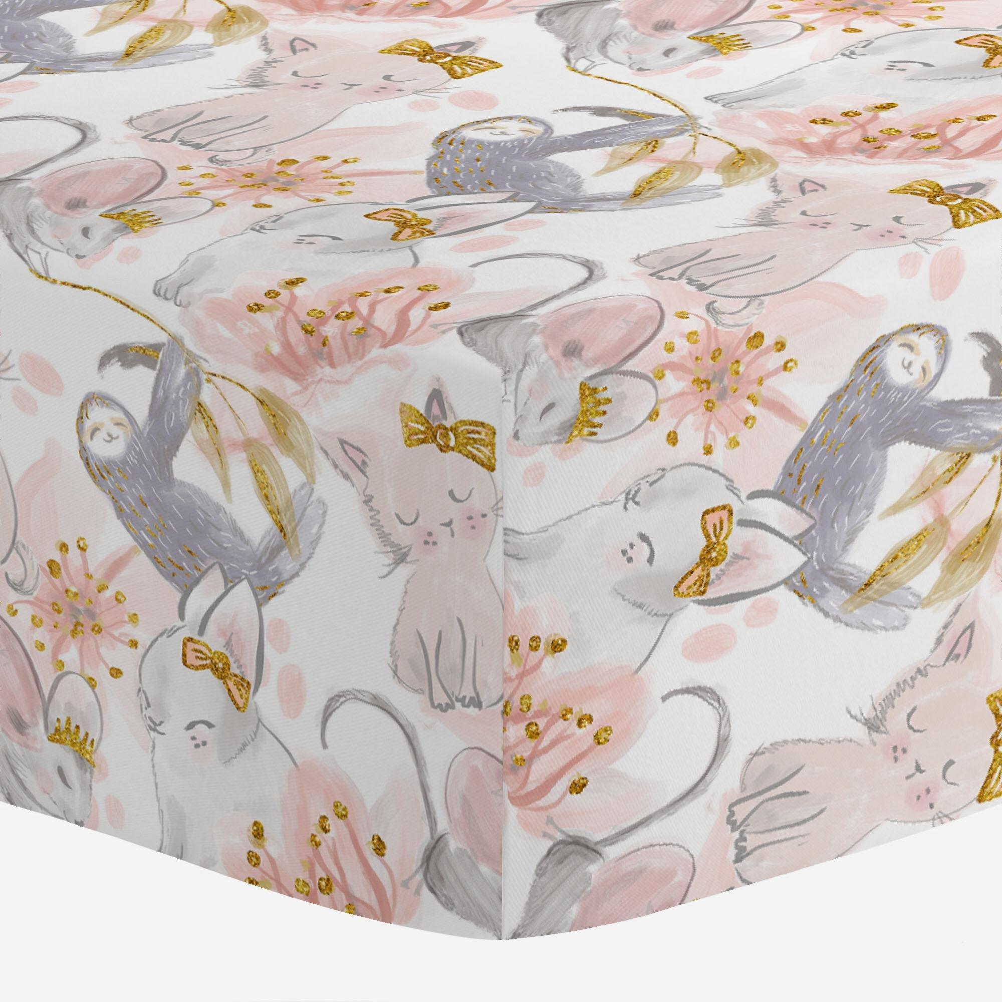 Carousel Designs Pink And Gray Sloth Crib Sheet  Organic