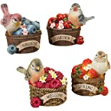One Holiday Way Set of 4 Colorful Bird Figurines on Fruit Baskets - Tabletop Spring Decoration