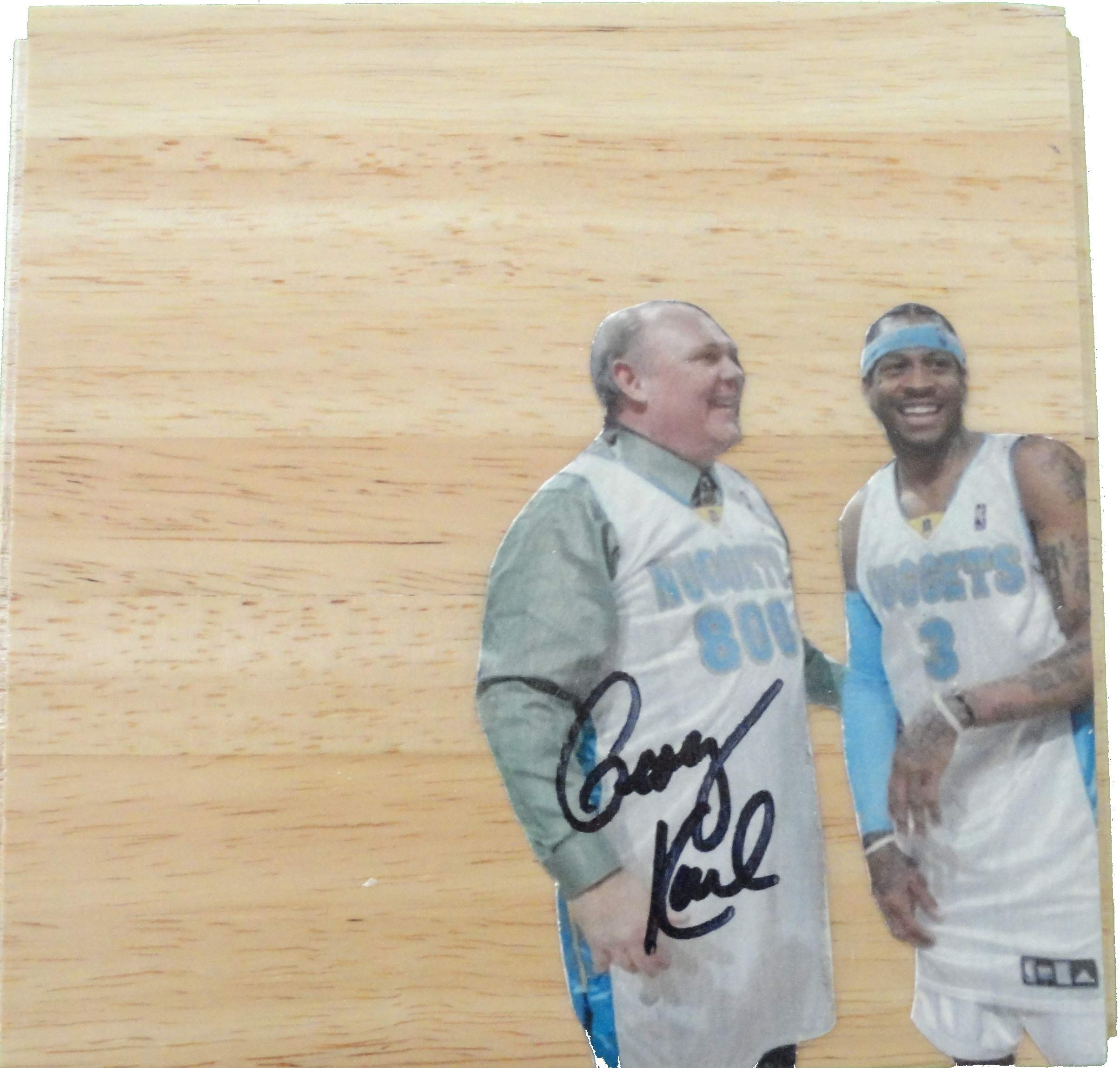 Denver Nuggets George Karl Autographed Hand Signed 6x6 Parquet Photo Floorboard with Proof Photo of Signing and COA Basketball Floor Boards