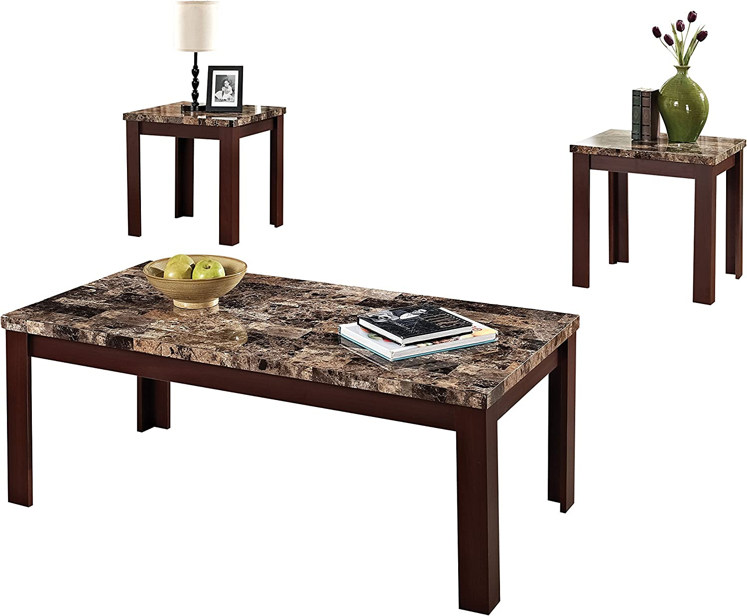 Amazon Com Acme Finely Light Brown Faux Marble Coffee End Table