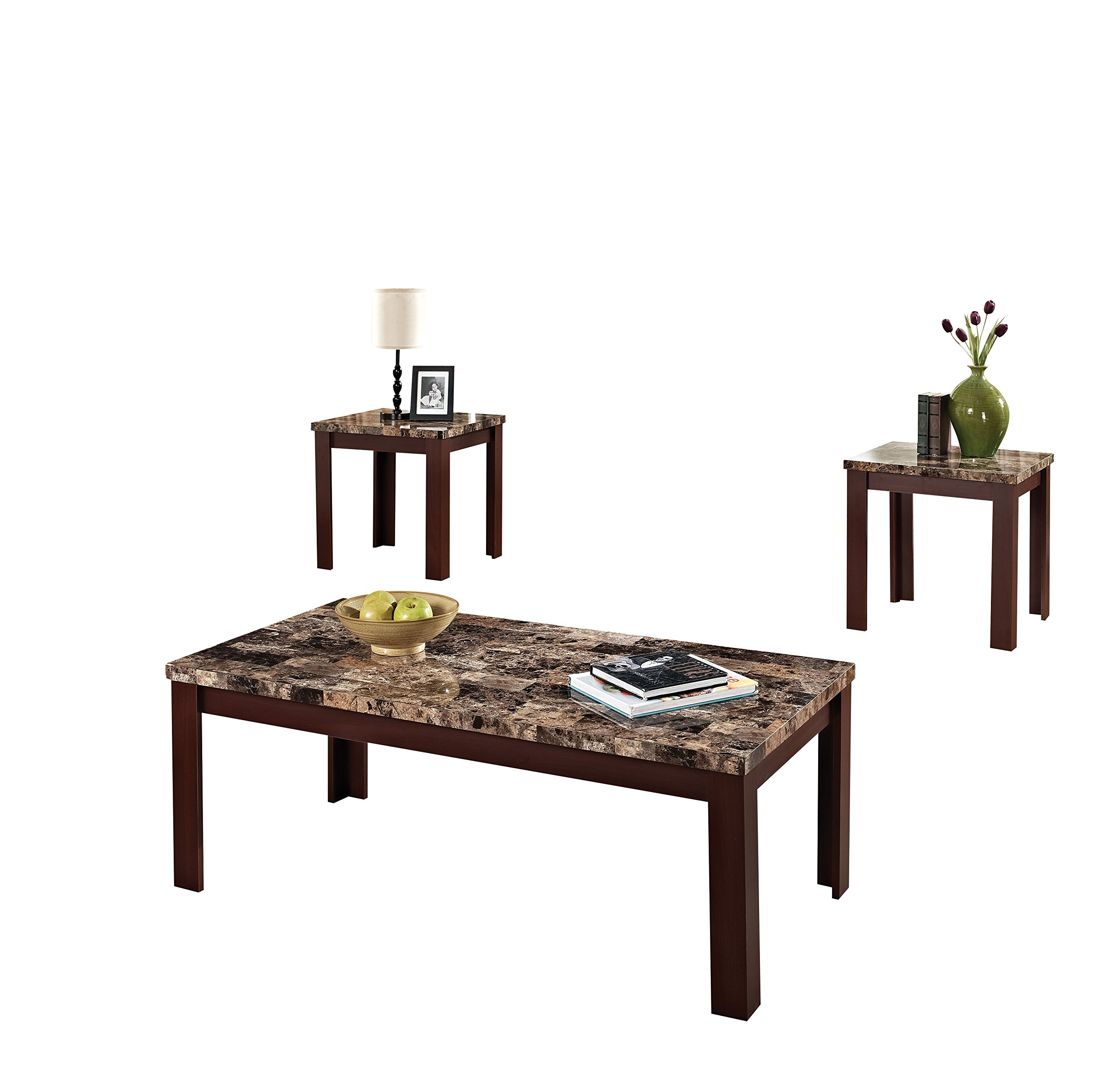 ACME Finely Light Brown Faux Marble Coffee End Table Set by Acme Furniture