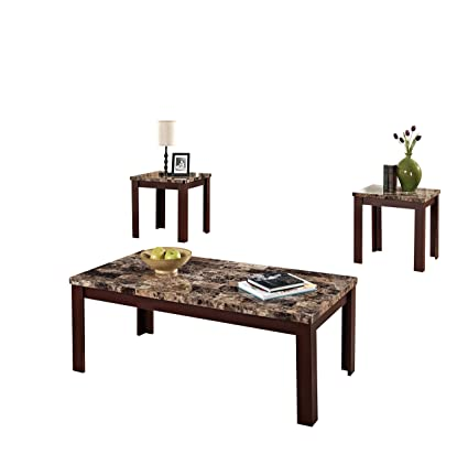 Acme Furniture ACME Finely Light Brown Faux Marble Coffee End Table Set