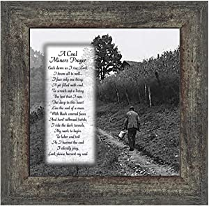 Elegantly Yours Coal Miner's Prayer Picture Frame, Coal Mining Gifts, Miner's Décor, 10x10 8592 (10x10, Barnwood)