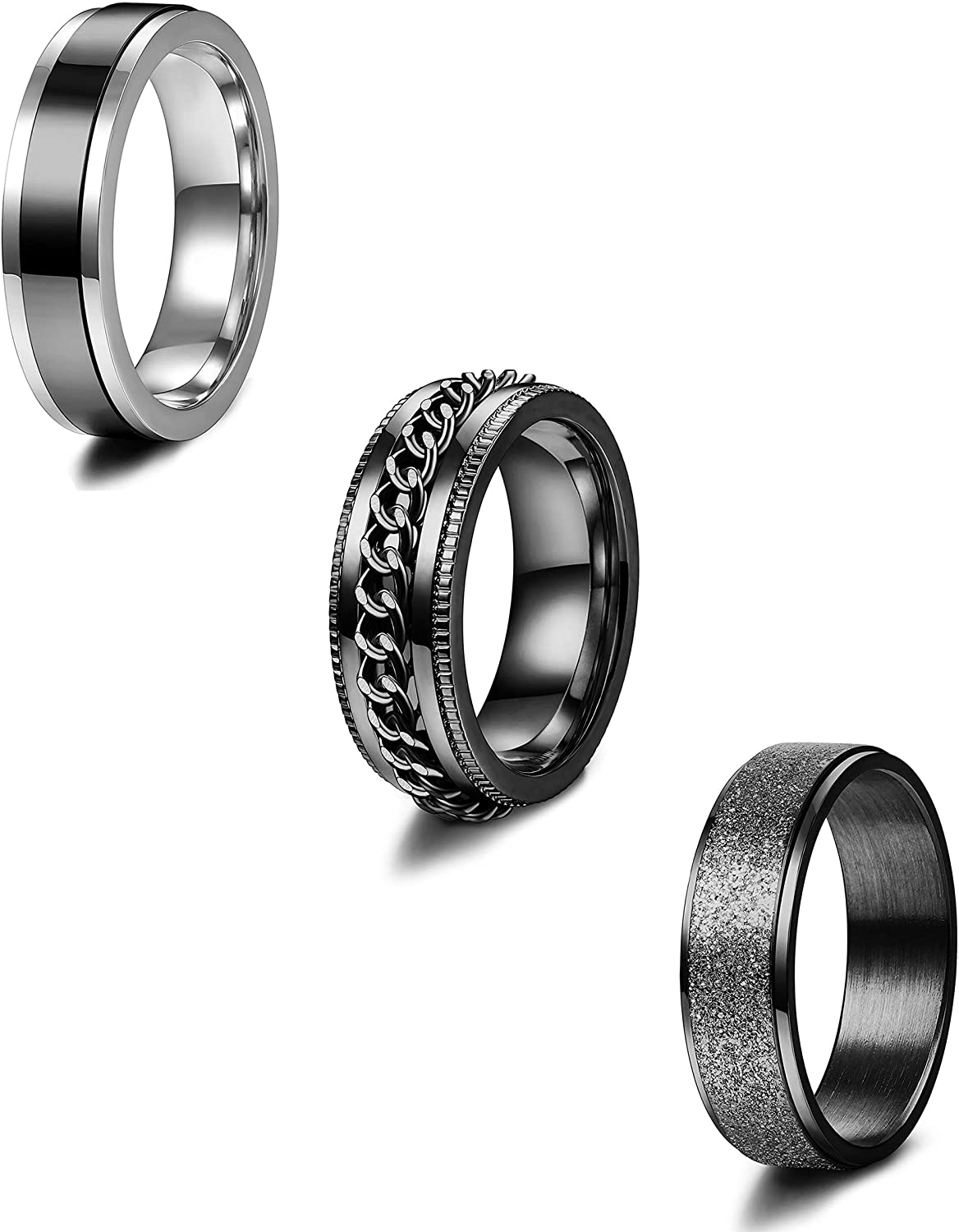 YADOCA 3 St/ücke Edelstahl Ringe Herren Schwarz Cool Rings Chain Biker Rillenkante 8MM Breites Wedding Engagement Ringe Set Herren Band Ring Gr/ö/ße 7-13