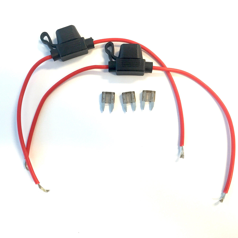 KO Fuse 2Amp Inline Blade Fuse Holder Set - 16 Gauge Copper Wires + 3 Blade Fuses (2 Amp)