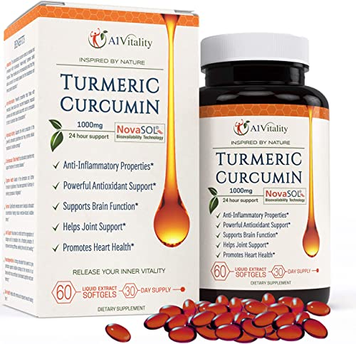 Turmeric Curcumin NovaSOL Softgels More Potent Than Bioperine – Inflammation, Joint Pain Relief Support Supplement – 185x Bioavailable Than Turmeric Black Pepper Capsules Best Natural Extract Pills