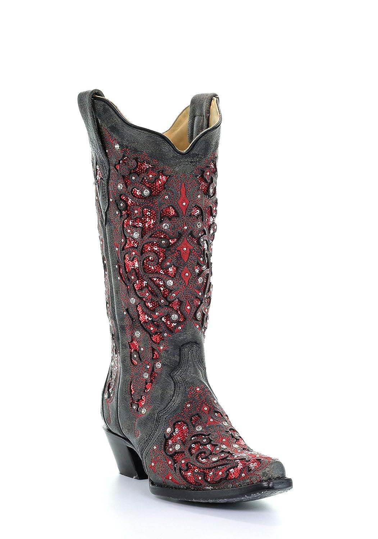 Corral Women's 13-inch Brown Chevron Embroidery & Studs Snip Toe Pull-On Cowboy Boots - Sizes 5-12 B B07BJCQV2T 8 B(M) US|Black