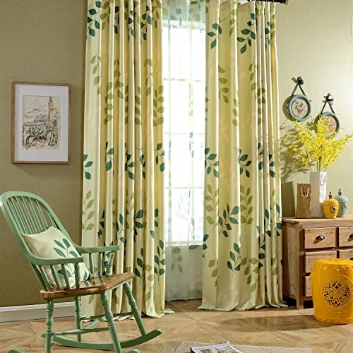 Leyden TM Grommet Top Spring Leaves Print Window Door Curtain Panels, 50-Inch by 96-Inch, Green 1 Panel Custom Size