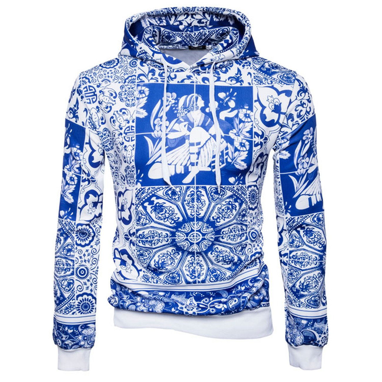 Mens Long Sleeve Hooded 3D Digital Print Blue and White Porcelain Sports Pullover Hoodies