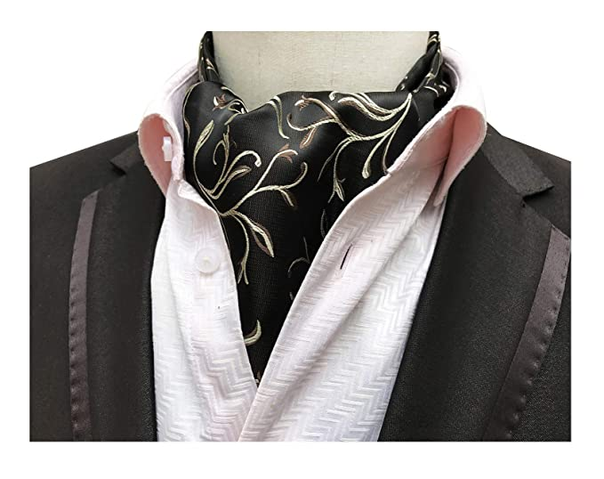 84a73b16c35 Elfeves Men's Black Biege Brown Jacquard Cravat Tie Casual Ascot Great For  Party