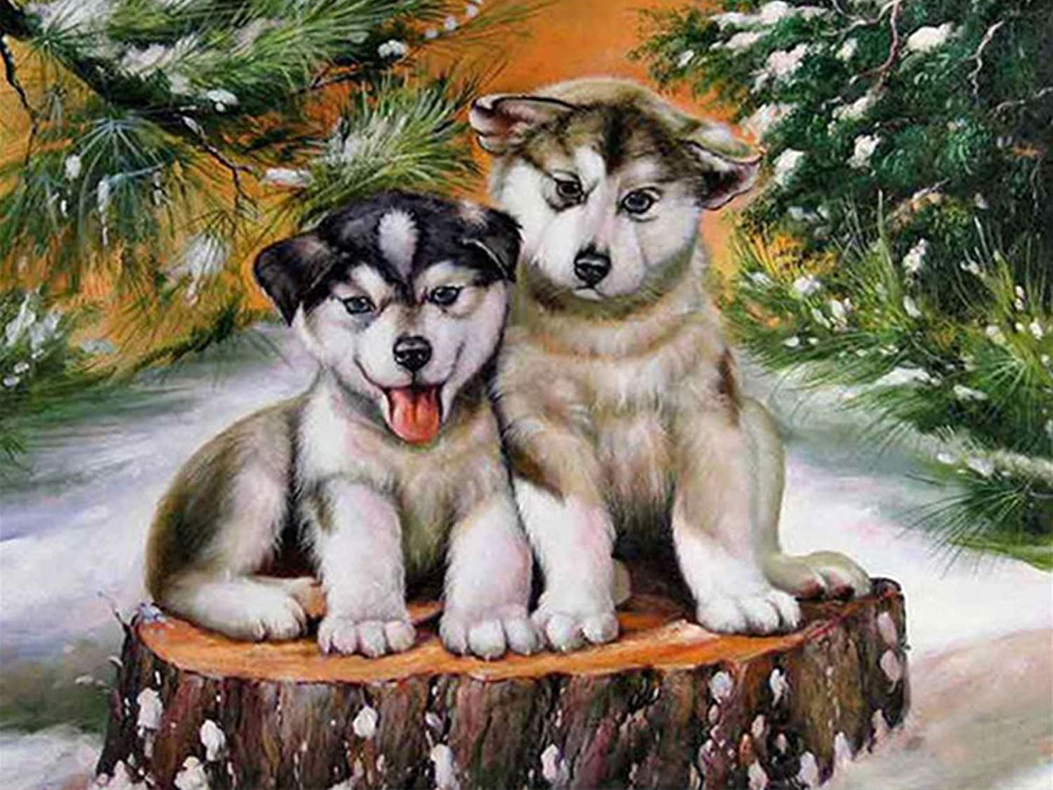 Rovepic 5D Diamond Painting Kits Winter Dog Round Full Drill, DIY Paint with Diamonds Arts Animal Snow Crystal Rhinestone Cross Stitch for Home Office Wall Crafts Decorations 12×16 Inch