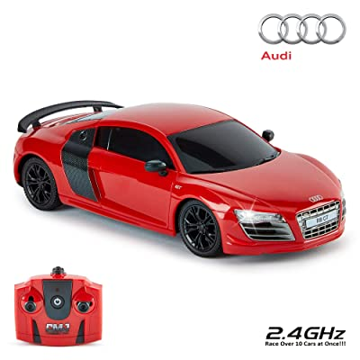 Cmj RC Cars Audi R8 Gt, Oficial Autorizado Mando a Distancia Coche para Niños con Trabajo Luces, Radiocontrolado Coche RC Chico Chica Juguetes 1:24 Modelo, 2,4ghz Carrera 10 + Coches Juntos (Rojo): Hogar