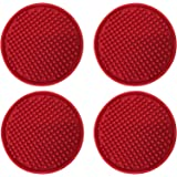 BonBon Silicone Drink Coasters – 4 Piece Set - Red Rubber Bar Beer Wine Non-Slip Table Coasters 4""
