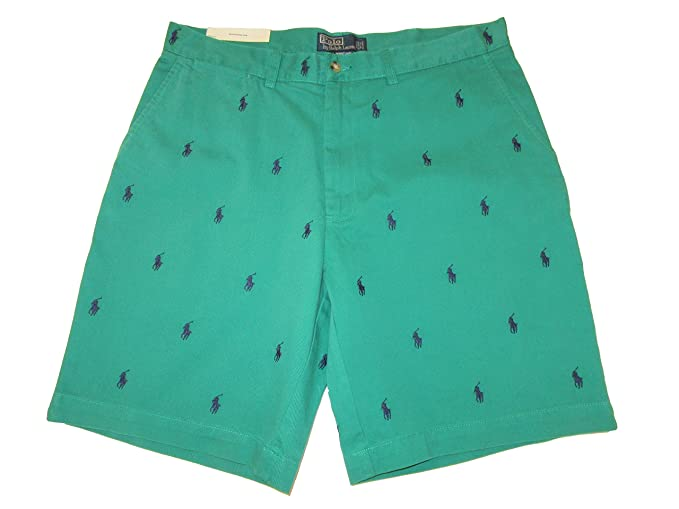 Ralph Lauren Polo Mens Flat Front Cotton Chino All Over Pony 9