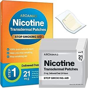 Aroamas Nicotine Patches to Quit Smoking - Step 1, Nicotine Transdermal Patches Step 1 [21 mg, 21 Patches]