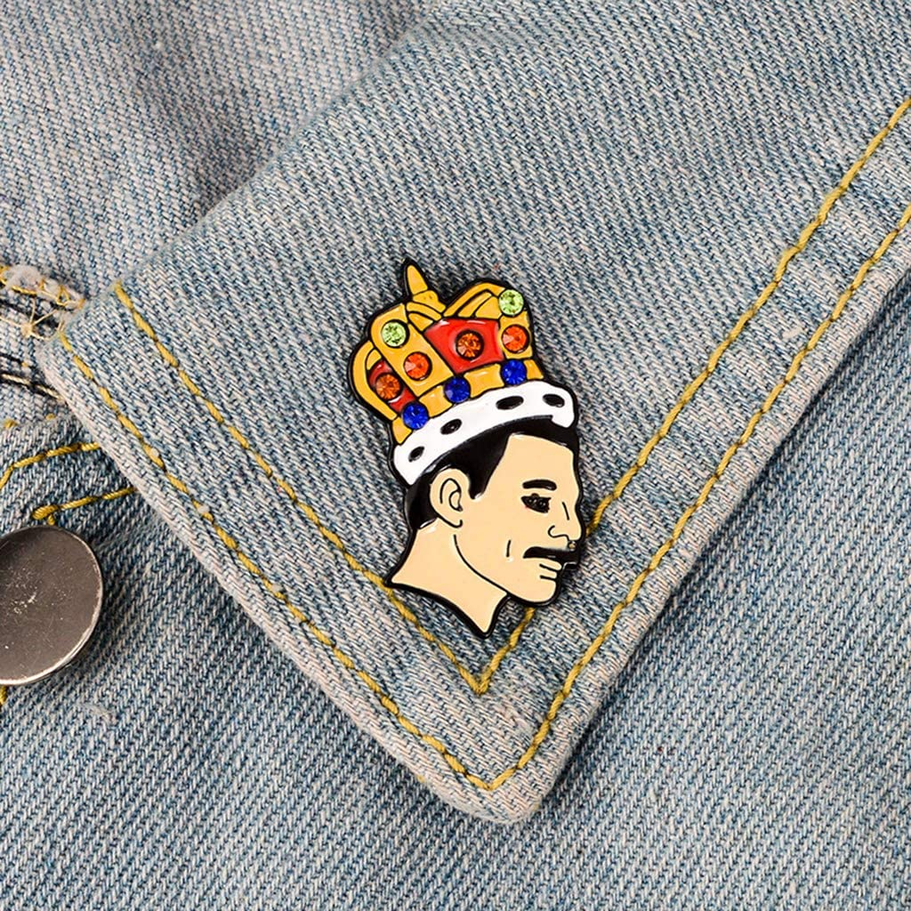 chuwa Brooch Lapel Pin with Lead Singer Of Band Freddie Mercury Design Brooch Pin for Men Women Party Favors Clothing Decoration Gifts