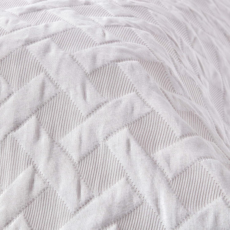 boutis ou Couverture /à Motif Relief croisillons 330 g//m/² Blanc 190 x 260 cm Homescapes Couvre-lit matelass/é
