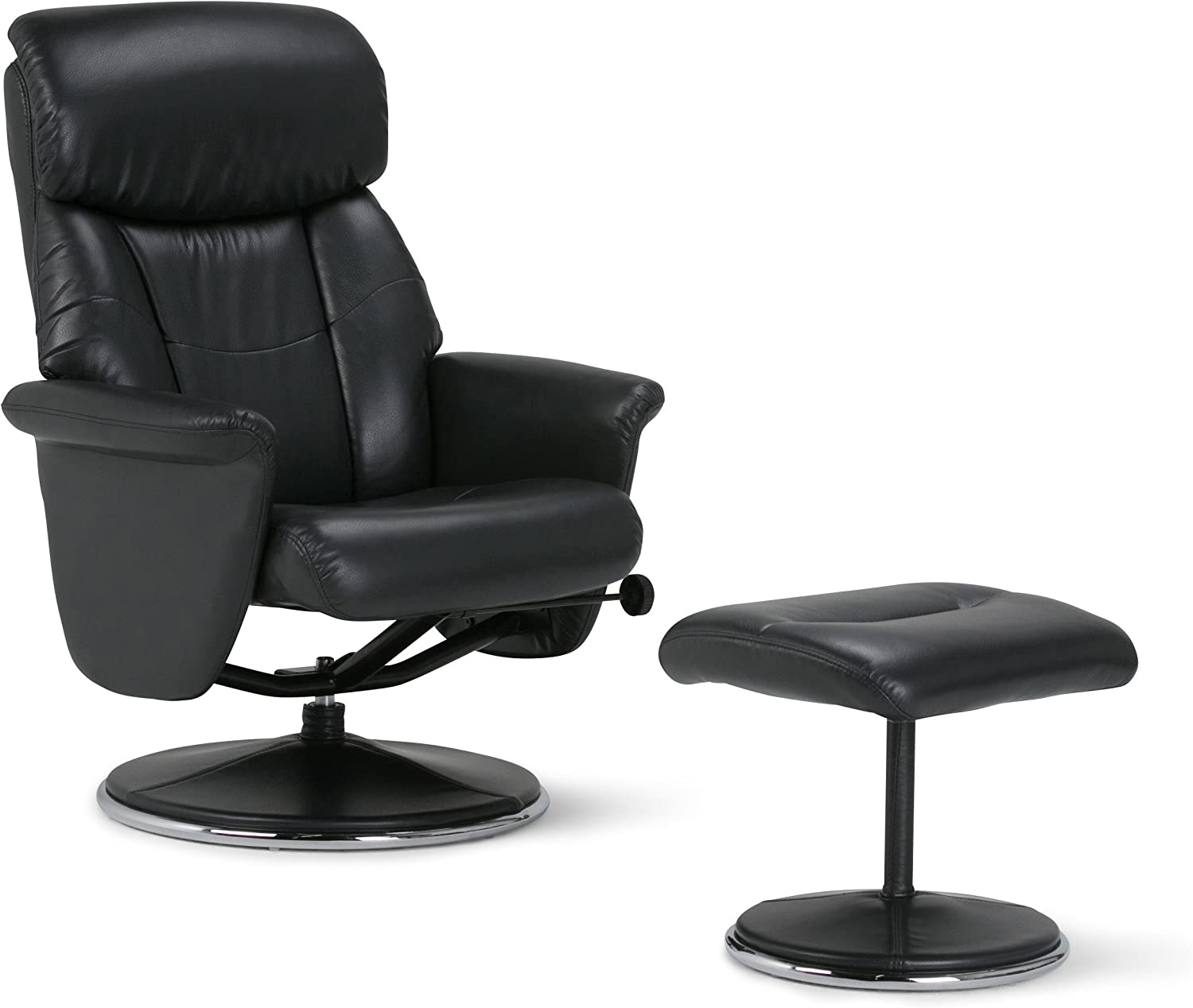 Simpli Home AXCEUREC-02 Carson 31 inch Wide Contemporary Euro Recliner in Black Faux Air Leather
