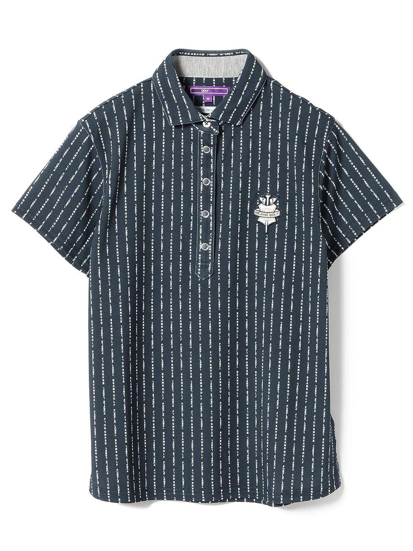 (ビームスゴルフ)BEAMS GOLF/ポロシャツ PURPLE LABEL/ロゴ ストライプ ポロシャツ レディース M ネイビー B07QGD4LGR