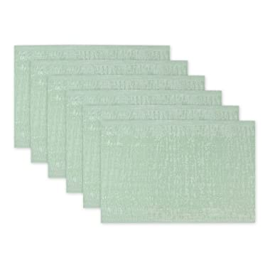 DII Everday, Easy to Clean Indoor/Outdoor Woven Vinyl Space Dyed Placemat, 13x18 , Frost Green