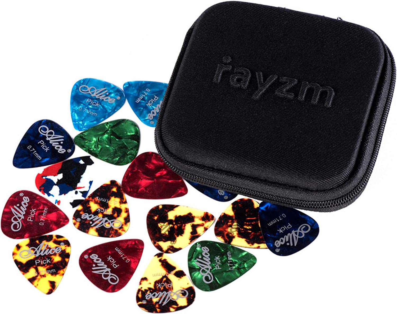 Rayzm Púas Pick Plectrums para guitarra 40 unidades con una caja resistente de almacenaje,Picks Premium de celuloide para guitarra, bajo, varios colores y 6 grosores 0,46/0,71/0,81/0,96/1,20/1,50mm