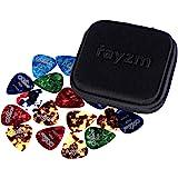 Rayzm Púas Pick Plectrums para guitarra 40 unidades con una caja resistente de almacenaje,Picks Premium de celuloide…
