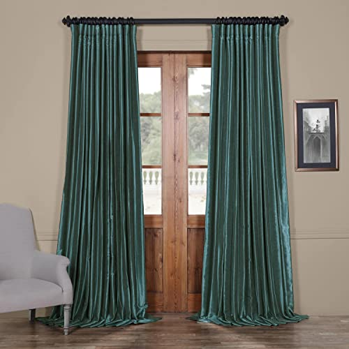 HPD Half Price Drapes PDCH-KBS14BO-84-DW Blackout Extra Wide Vintage Textured Faux Dupioni Curtain 1 Panel , 100 X 84, Peacock