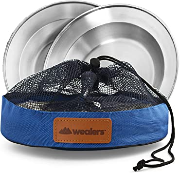 Stainless Steel Plate Set - 8.5 inch Ultra-Portable Dinnerware Set BPA Free Plates for Outdoor Camping | Hiking | Picnic | BBQ | Beach