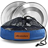 Stainless Steel Plate Set - 8.5 inch Ultra-Portable Dinnerware Set BPA Free Plates for Outdoor Camping | Hiking | Picnic…